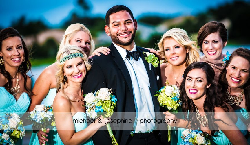 The groom and bridesmaids