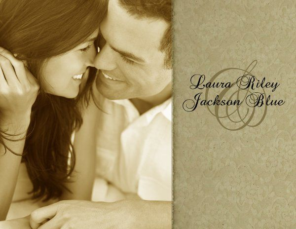 Front Side of 5.5x4.21, double sided wedding invitation