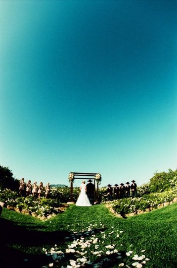 Fish-eye lens photo of the ceremony