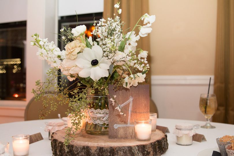 Flowers with candle centerpiece