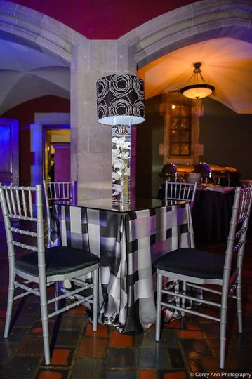 Our Silver Chiavari Chairs with Black Pads.