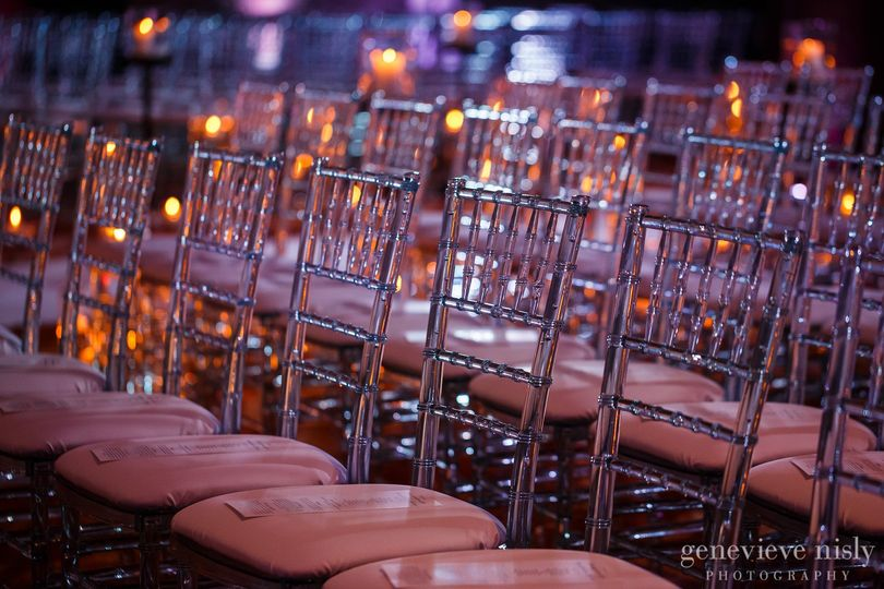 Our Crystal Chiavari Chairs with White Pads.