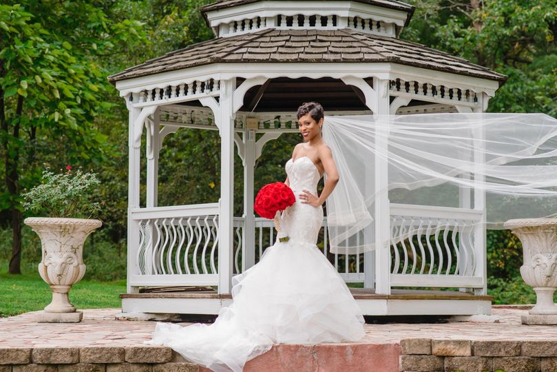 Bride and gazebo