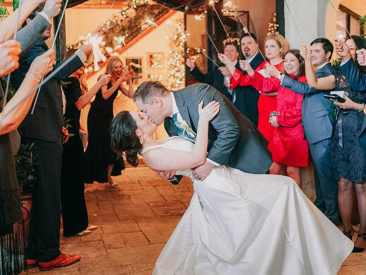 Tmx Houston Texas Wedding Photographer Dukessa Groom Leans Bride Over To Kiss Her During Exit As Guests Hold Sparklers 51 692708 158505722293075 Houston wedding venue