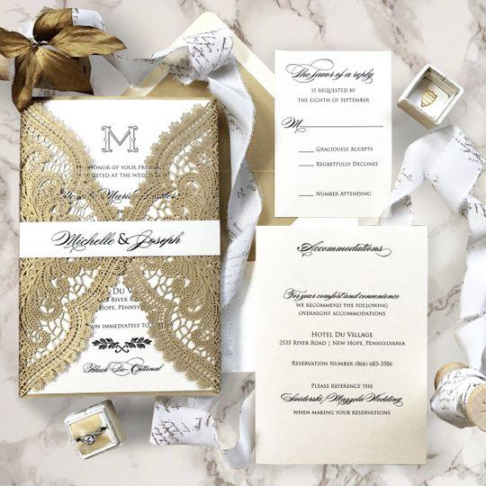Gold lace invitation