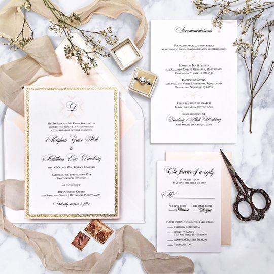 Elegant and simple wedding invitation