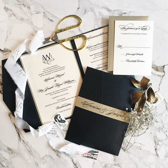 Black and gold themed invitation