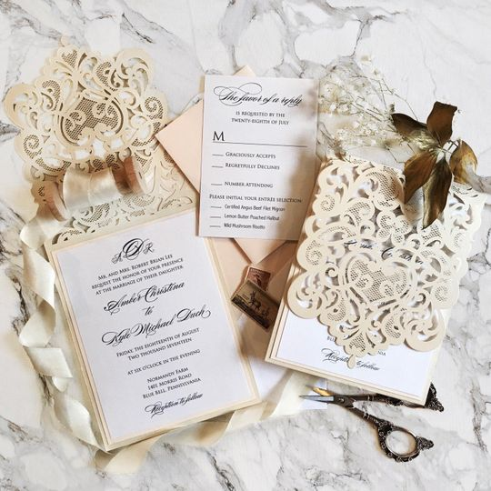 Intricate details in wedding invitation