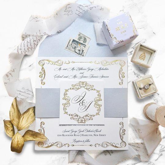 Gold framed invitation