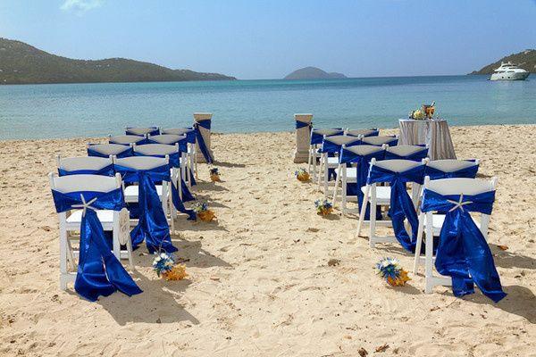 Magen's Bay Beach wedding set up