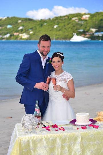Bride and Groom having a toast on their wedding day in St. Thomas