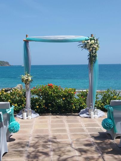 Wedding Venue set up in St. Thomas by the Sea.