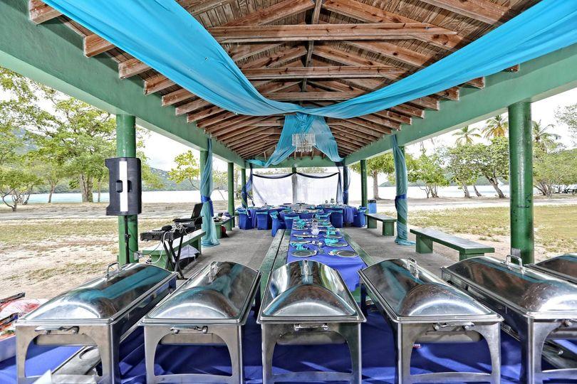 Magen's Bay Beach Pavilion Wedding set up