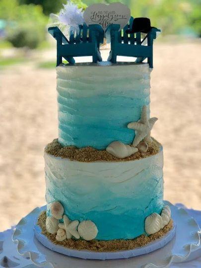 Beach Wedding Theme Cake