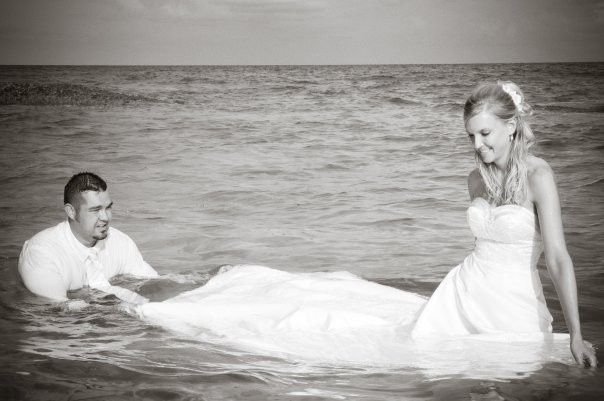 Newlyweds in the water