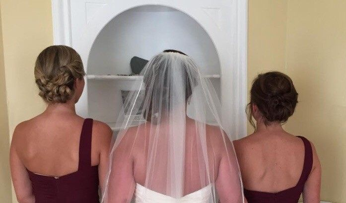 updos with veil placement