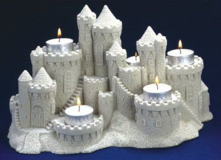 """Handcrafted 11"""" x 7"""" Sandcastle Centerpiece with Tea Light Candles - Can hold Votive candles"""