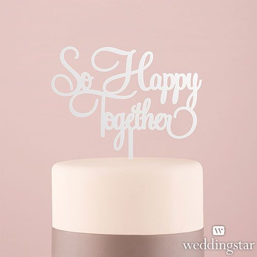 08so happy together white acrylic cake topper