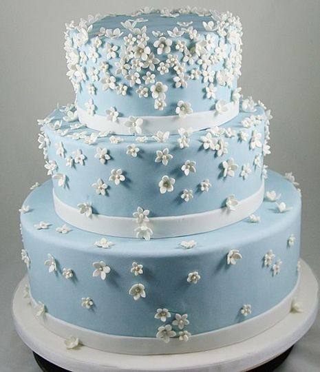 Soft blue wedding cake with white flowers