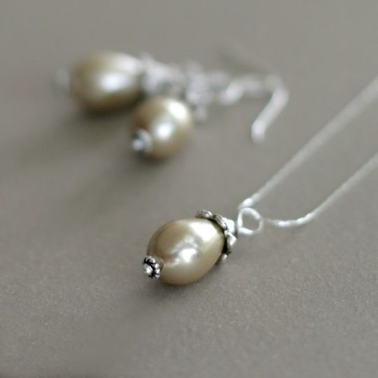champagne glass pearl earrings and necklace set ~ for the bride or bridesmaids