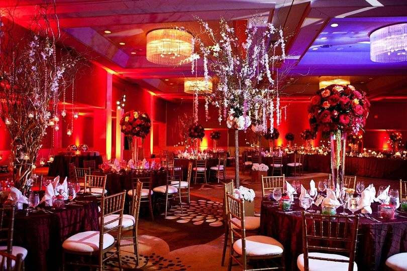 Red lights and decor in ballroom