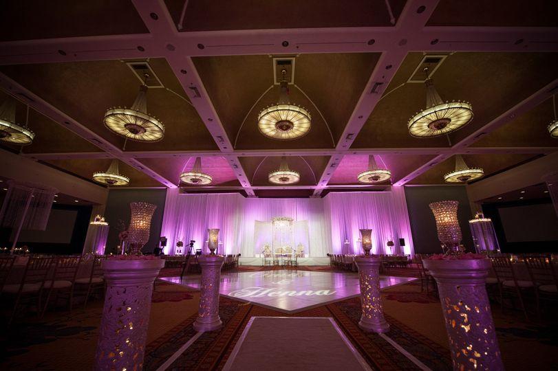 Pink lighting in the ballroom