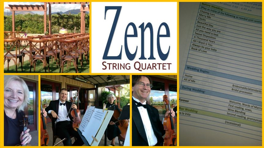 Zene Strings: Winery Weddings can be festive and fun for all!  String quartets can be placed in the...