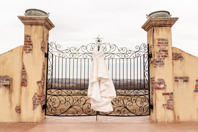 Wedding dress by the gate