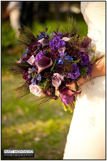 Bridal bouquet with deep purple calla lilies, roses, delphinium, lisianthus, carnations, and peacock...