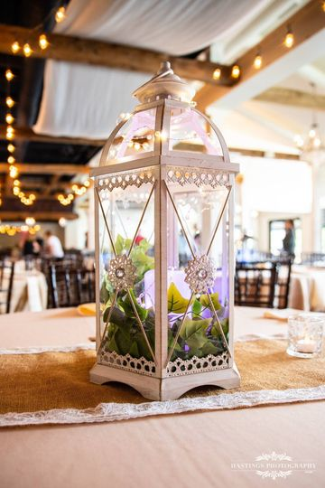 "The ""Jacqueline ""Cream lantern with LED candle that can be set to any color"