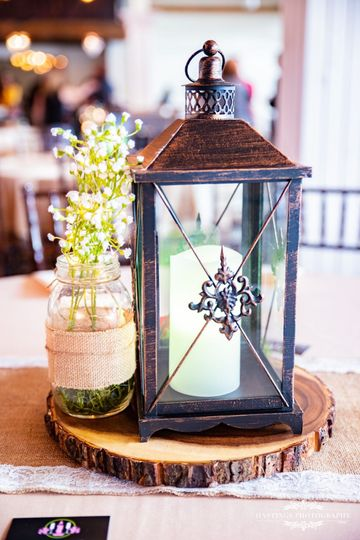 "The ""Tara"" Rustic : Wood platter, mason jar with silk baby's breath, brown metal lantern with LED..."