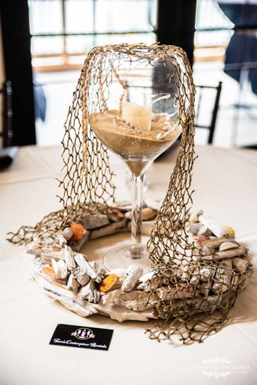 "The ""Alaina""Beach :  driftwood wreath, large wine glass vase filled wth sand, LED light, fish..."