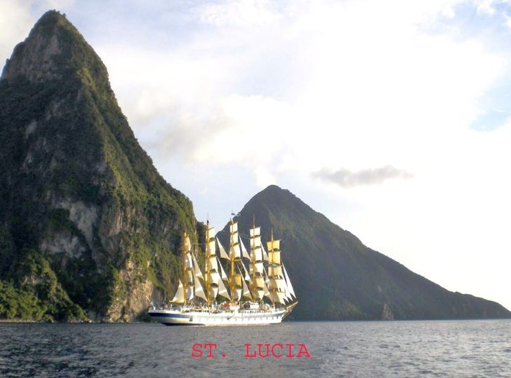 royal clipper in front of pitons