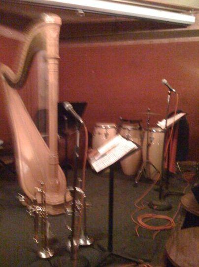 Harp jazz trio setup