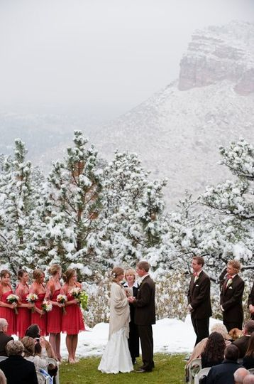 Winter snow outdoor ceremony