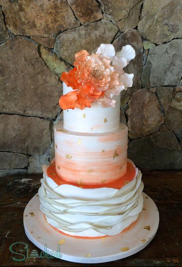 pratt coral wedding cake