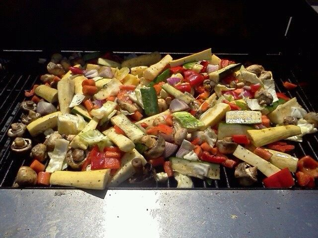 fresh grilled veggies on the grill