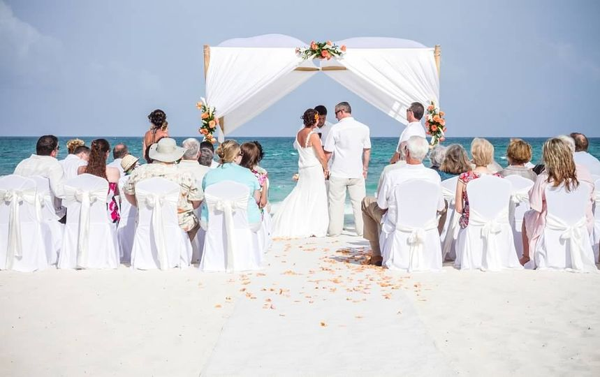 Cassandra & Eric at their beach destination wedding at the  Iberostar Paraiso Lindo, MX!