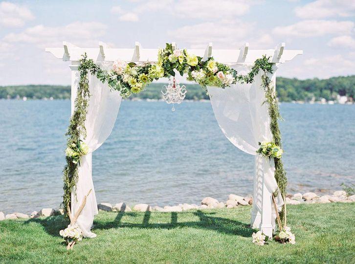 Lakefront Wedding Ceremony Arbor Decor