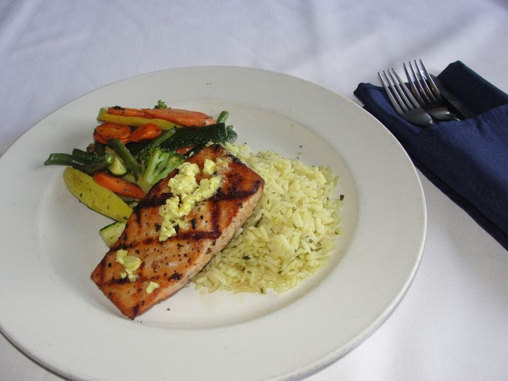 Broiled salmon with rice