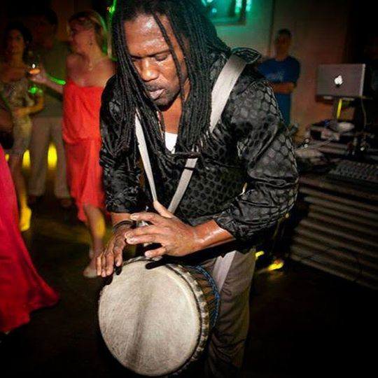 Percussionist Curtis Watts on the Djembe drum
