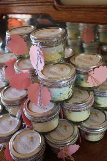Favors: Fresh lemonade mix favors included basil mint and berry lime.