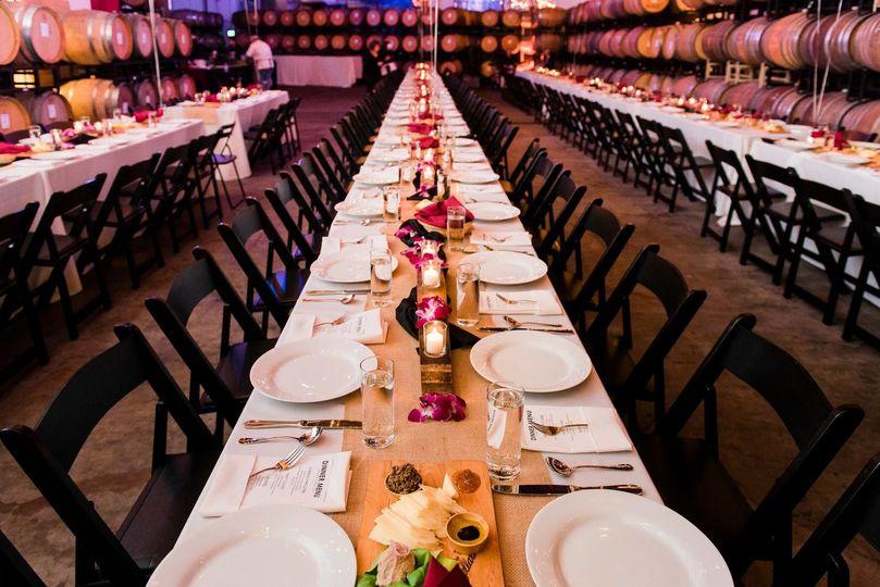 Reception setup at a winery