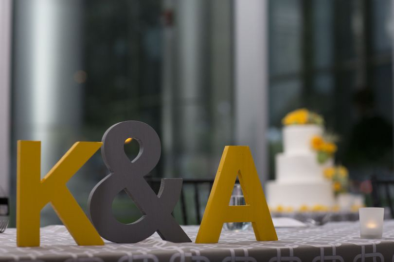 The wedding initials