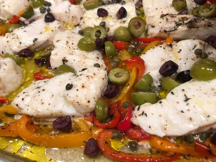 Roasted Cod w Olives, Peppers