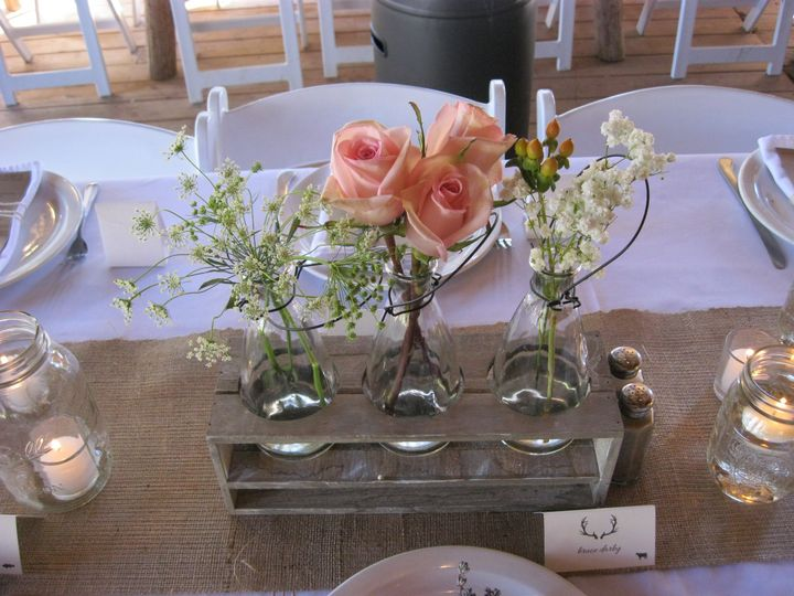 Peach flower centerpiece