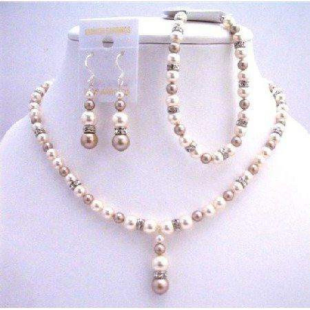 Our Bridal Swarovski Ivory Pearls and Champagen Pearls with Simulated Diamond spacer, Handcrafted...