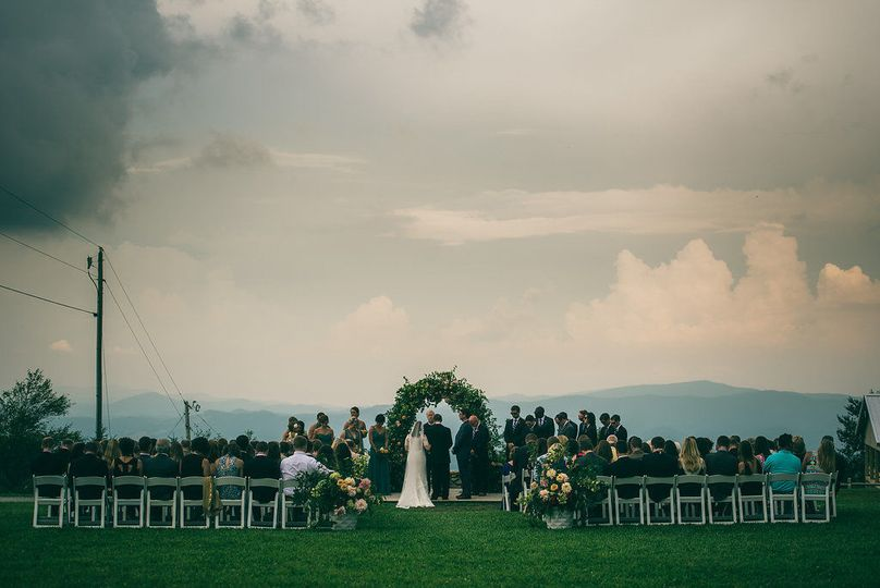 Outdoor ceremony with mountain views