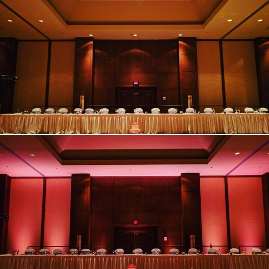 Coralville Marriott before and after adding uplighting