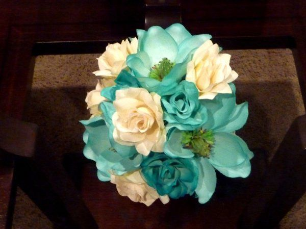 NEW!!!  Hand painted Teal/ Torquoise Magnolias with Ivory Rose Bridal Bouquet  Other Bridal Flowers...